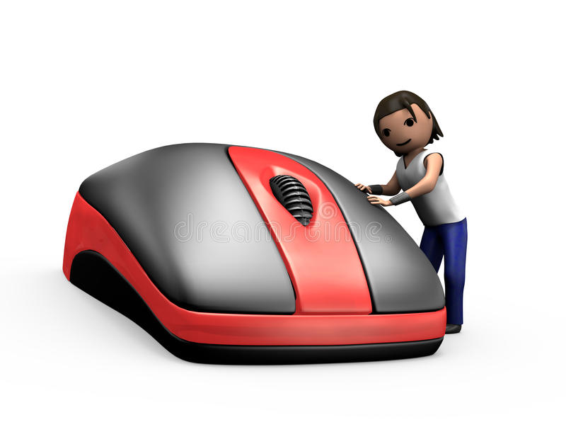 3d Young Man Clicking PC Mouse. 3d Render of Young Guy Clicking PC Mouse royalty free illustration
