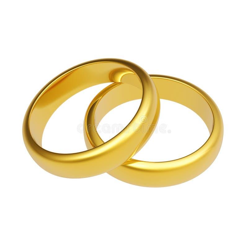 3d złocistego pierścionku ślub ilustracji