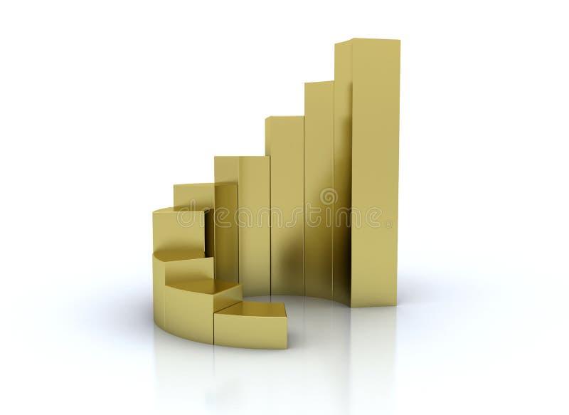 3d złota wykresu renderingu spirala ilustracja wektor