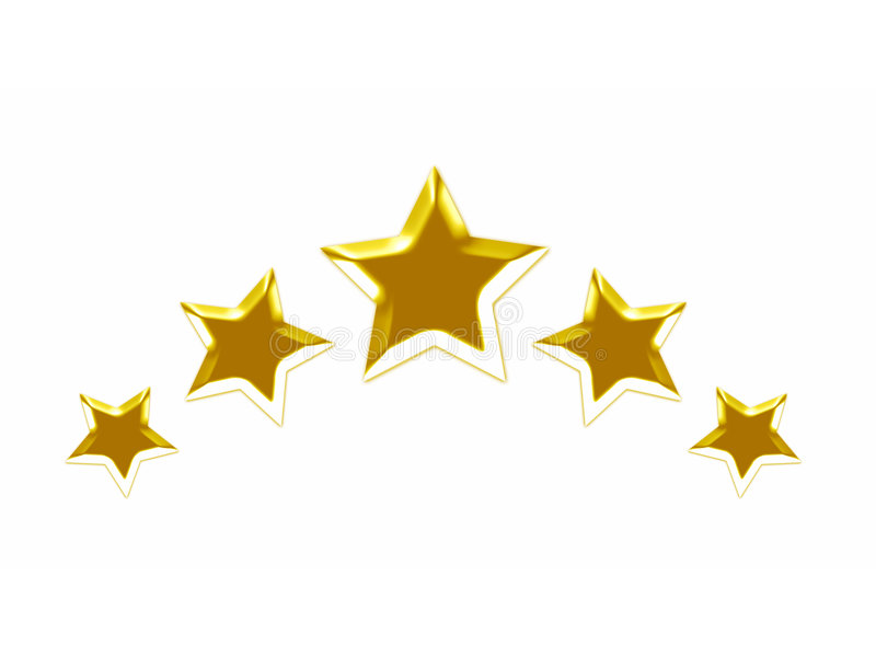 3d złote gwiazdy ilustracja wektor