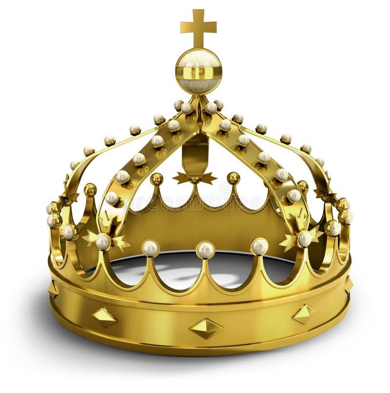 3d złoty korony illsutration royalty ilustracja