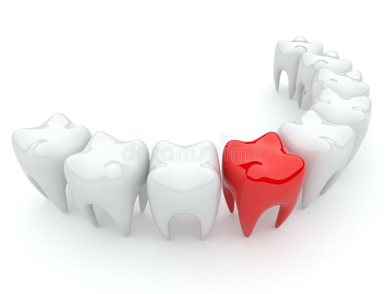 3d zły ilustraci odosobniony ząb royalty ilustracja