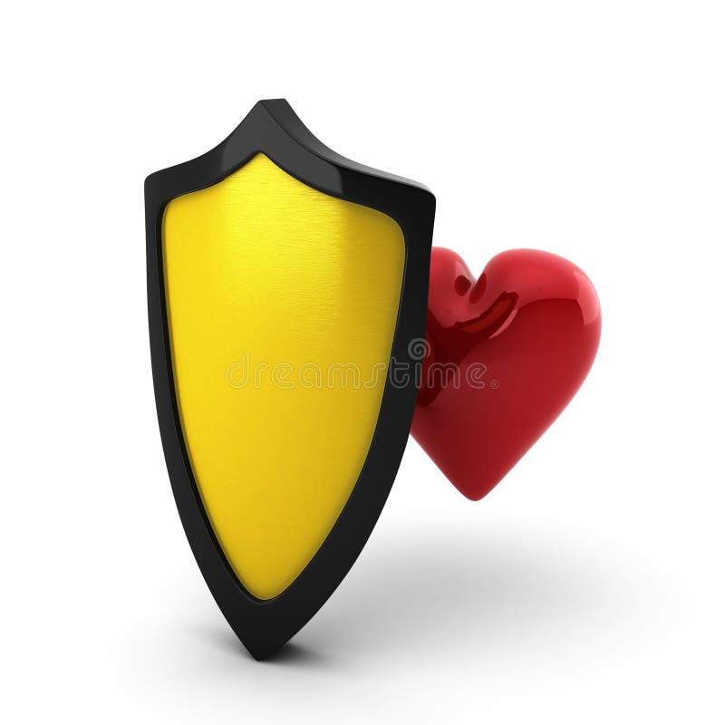 3d za złotym sercem odpłacają się osłonę royalty ilustracja