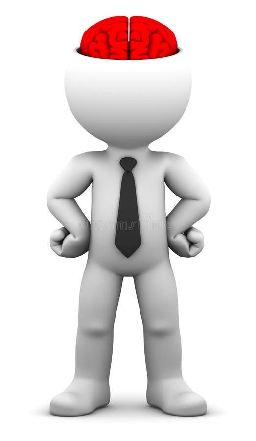 3d zakenman met de blootgestelde hersenen royalty-vrije illustratie