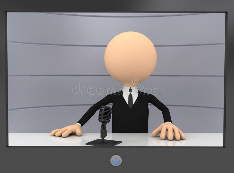 3d zakenman in TV royalty-vrije illustratie