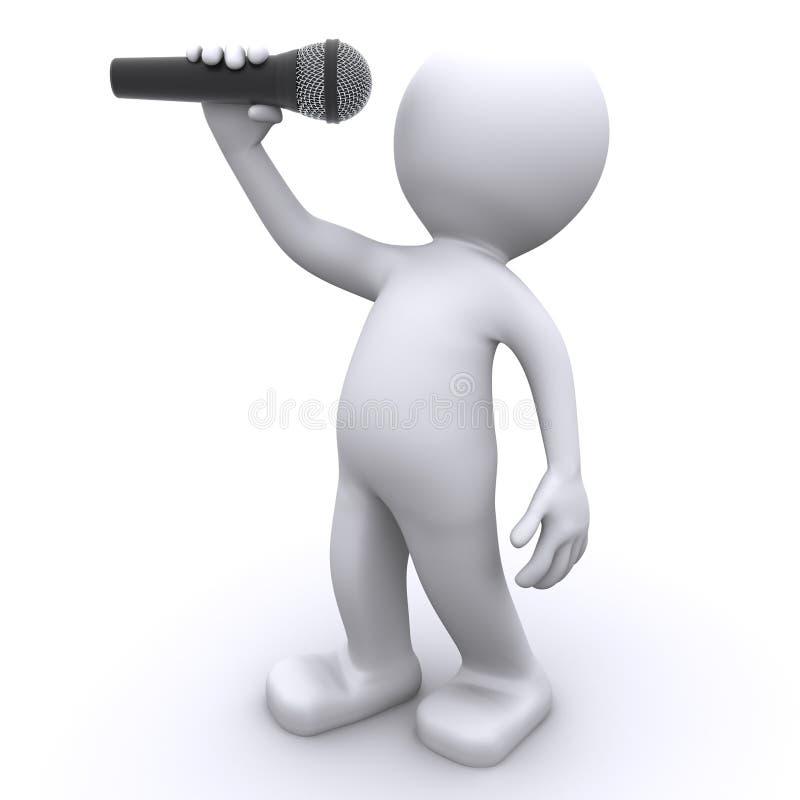 3d zanger met microfoon vector illustratie