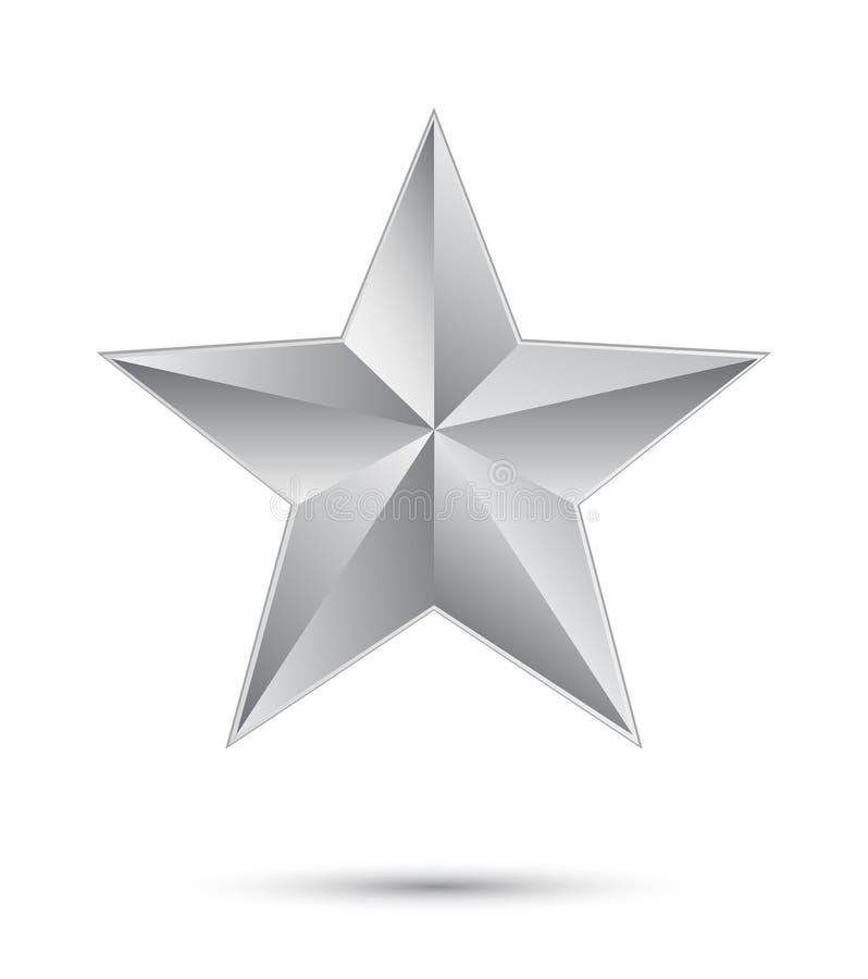 3D zilveren ster stock foto
