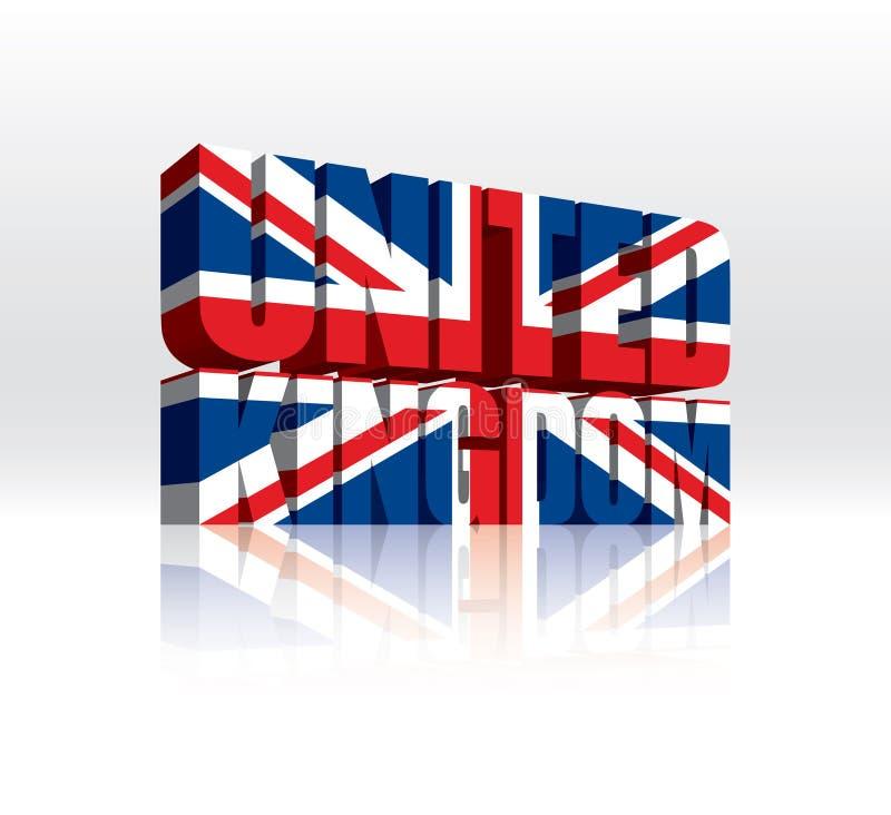 3D Zjednoczone Królestwo Wektorowa Słowa Teksta Flaga (UK) ilustracja wektor