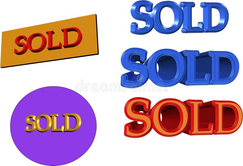 3d znaki sprzedający royalty ilustracja