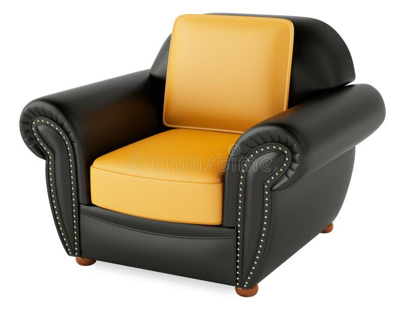 3D zwarte stoel op een witte achtergrond royalty-vrije stock fotografie