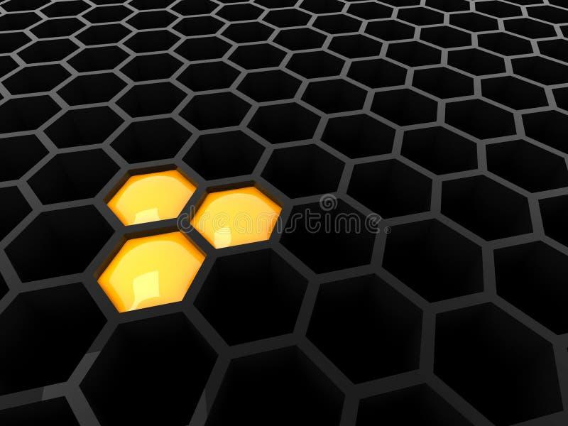 3d zwarte technologiehoningraat stock illustratie