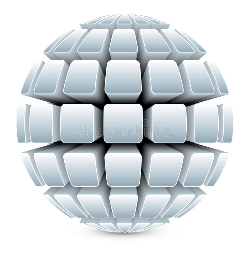 3dBall21Globe1Silver illustration stock