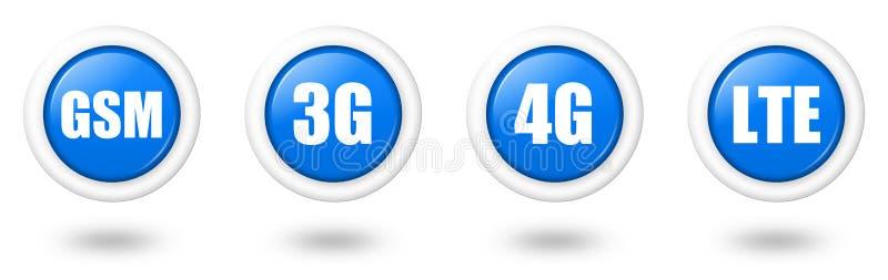 3g 4g蓝色gsm图标lte se电信 皇族释放例证