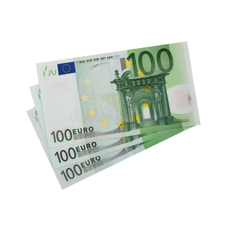 3x 100 Euro bills (isolated) royalty free stock photo