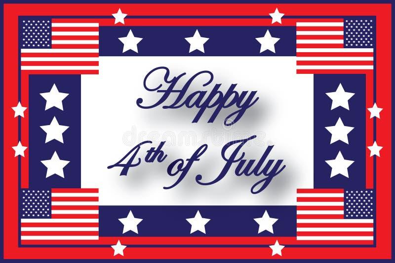 4ème heureux de l'indicateur américain de juillet illustration libre de droits