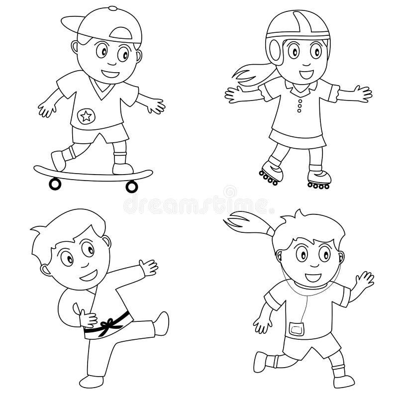 4个上色孩子体育运动 向量例证