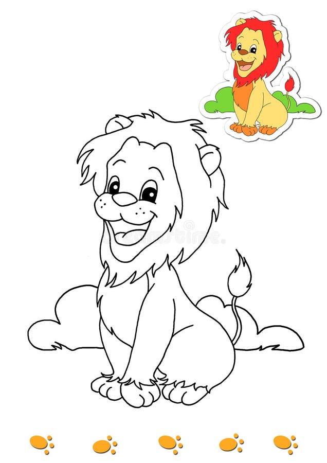 4个动物登记着色狮子 库存例证