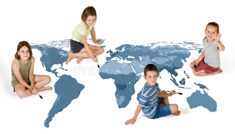 4个孩子绘 免版税库存照片