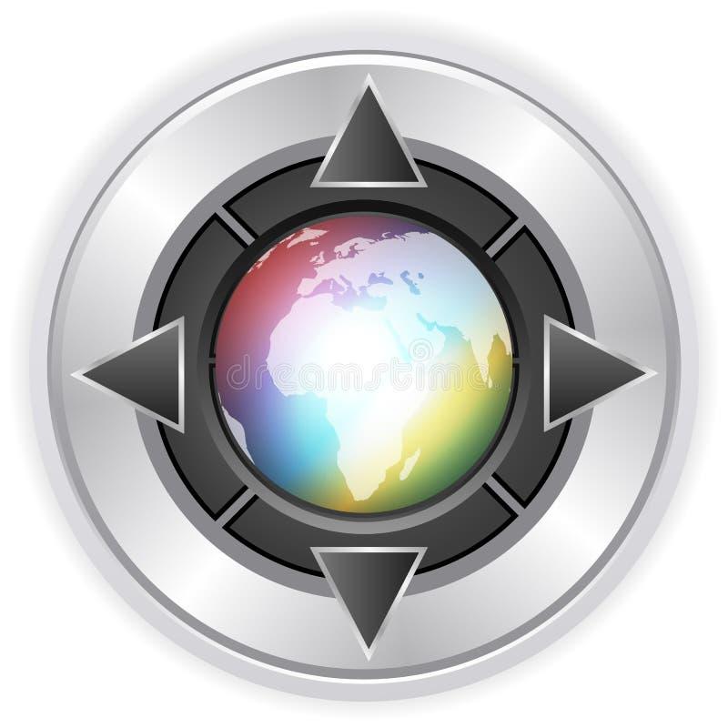 4个按钮地球多媒体 向量例证