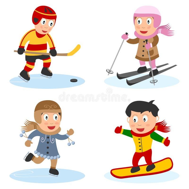 4个收集孩子体育运动 库存例证