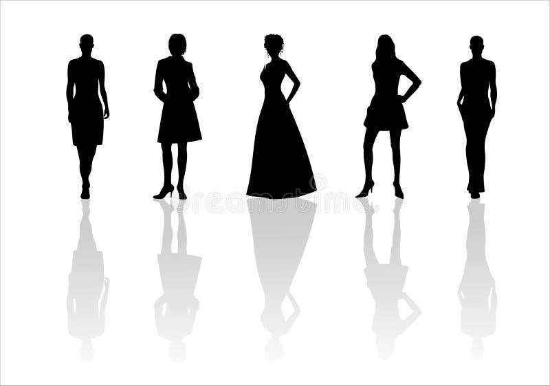 4个方式剪影妇女 库存例证