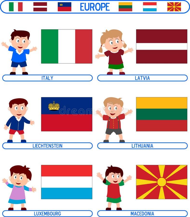4个欧洲标志孩子 向量例证
