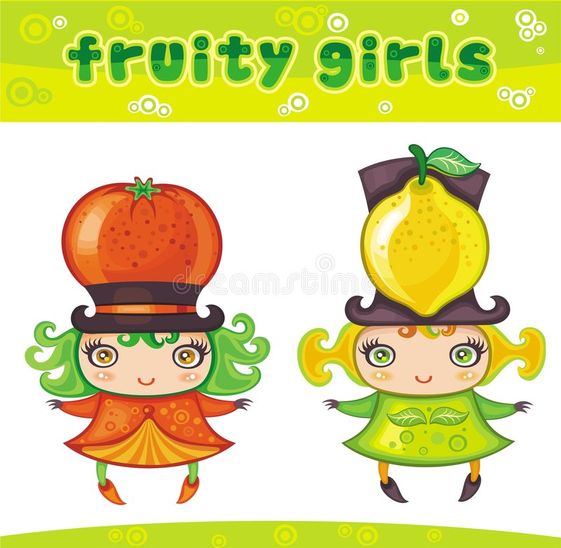 4个水果的女孩系列 皇族释放例证