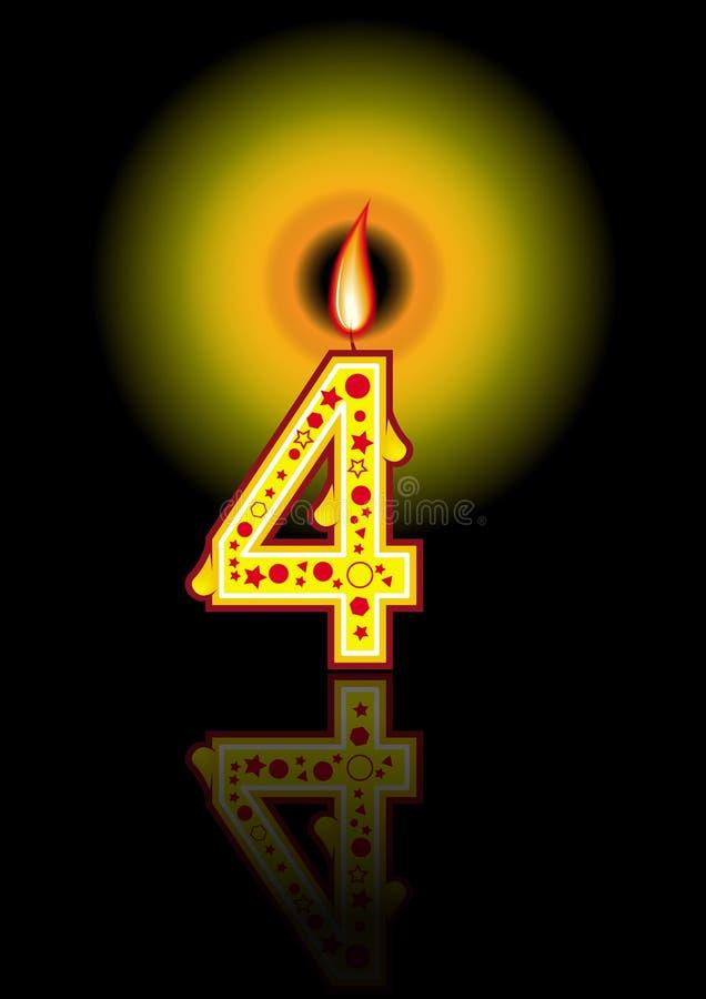 4个生日黑色蜡烛 皇族释放例证