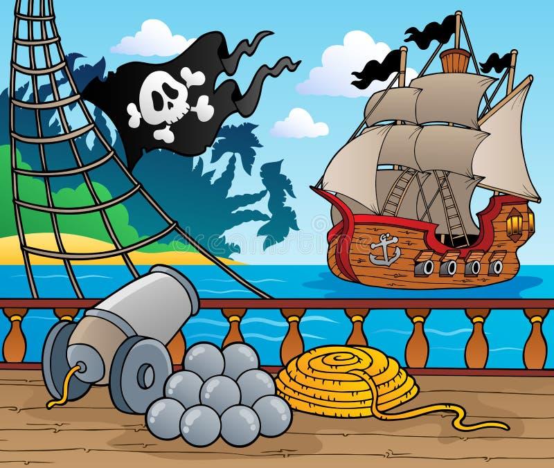 4个甲板海盗船主题 向量例证