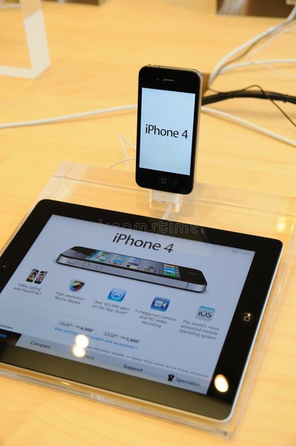 4个苹果显示iphone存储 库存图片