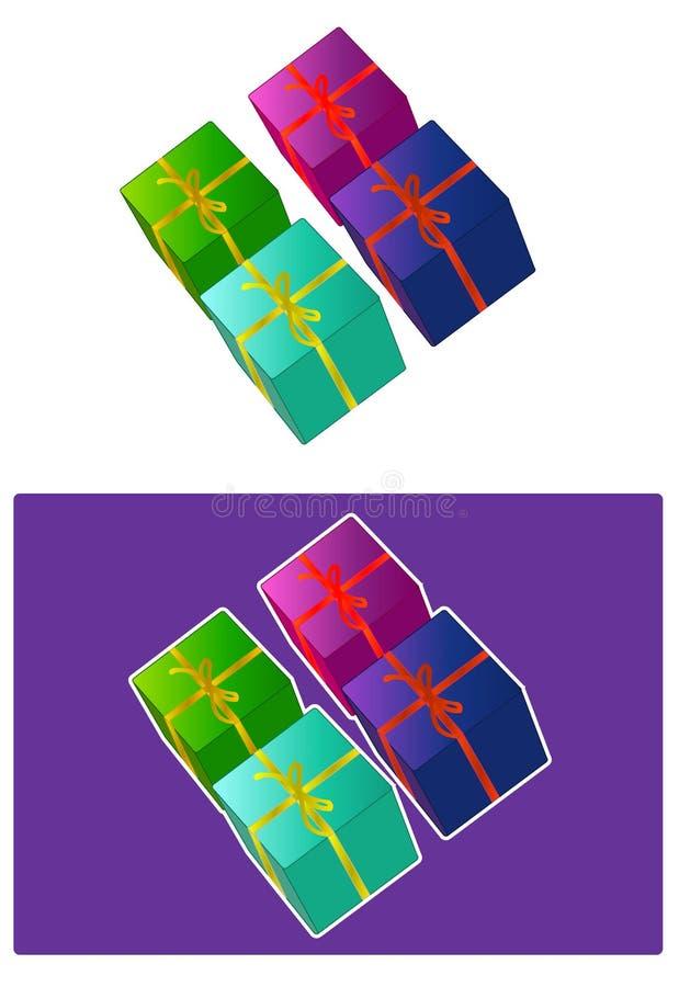 4个配件箱存在向量 皇族释放例证