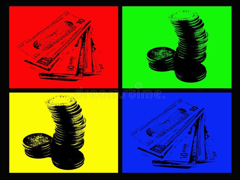 4个颜色货币 库存例证