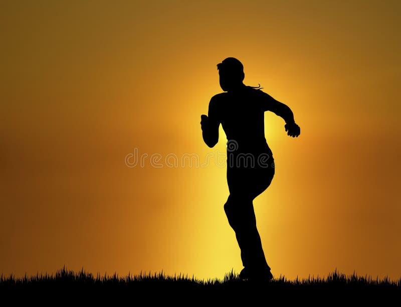 4位慢跑者日落 免版税库存图片