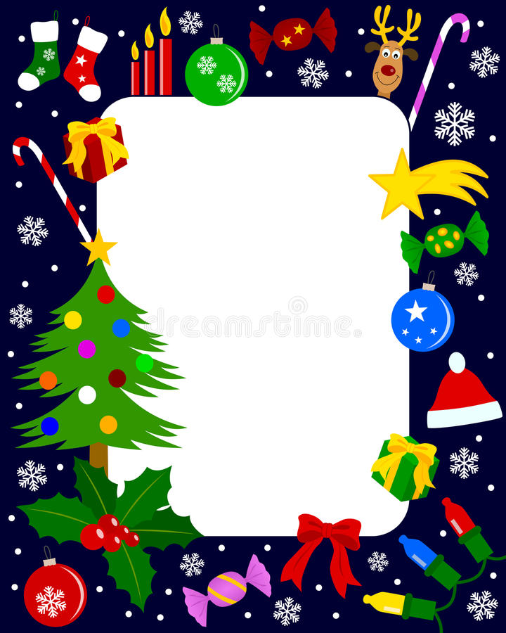 4圣诞节框架照片 皇族释放例证