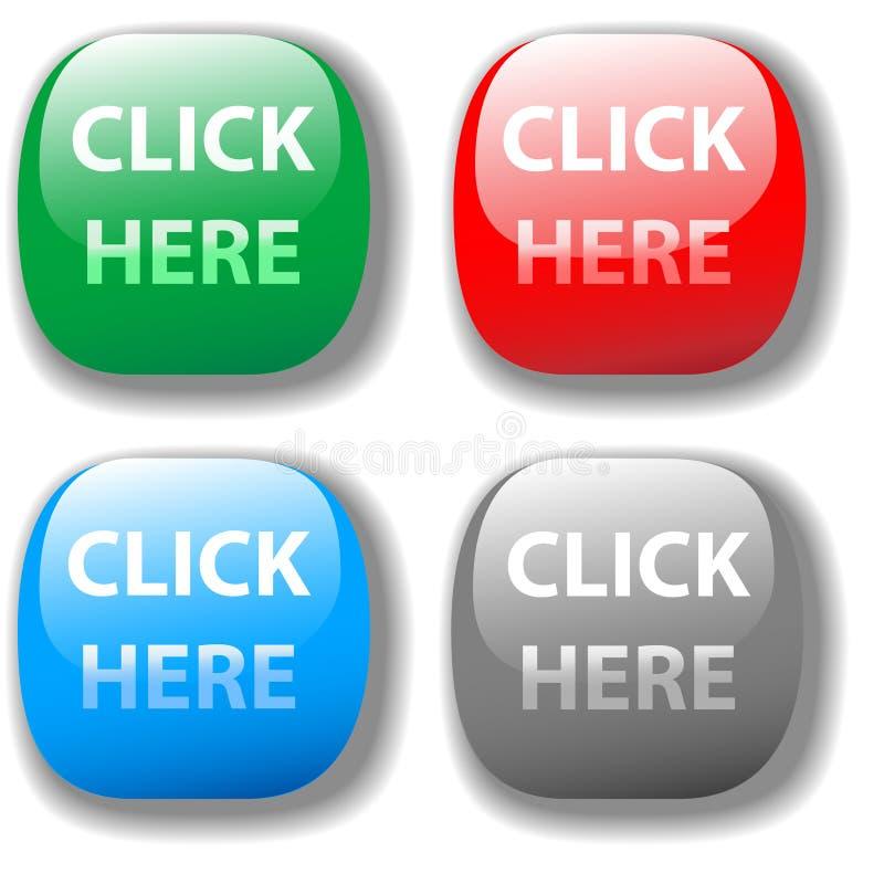 4挑选的按钮点击这里被设置的网站 库存例证