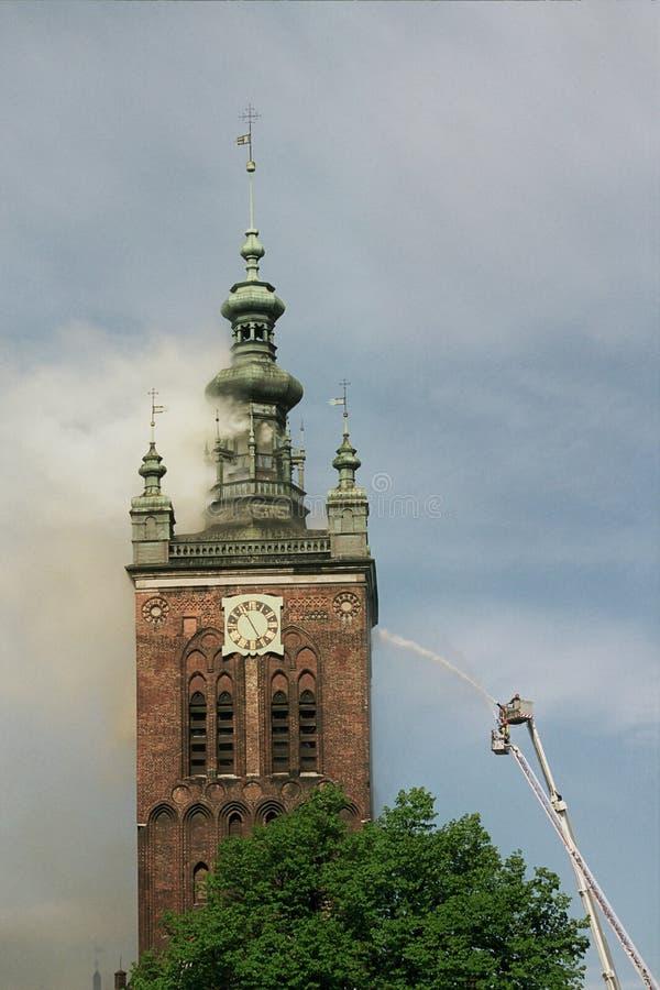 4灼烧的教会 库存图片