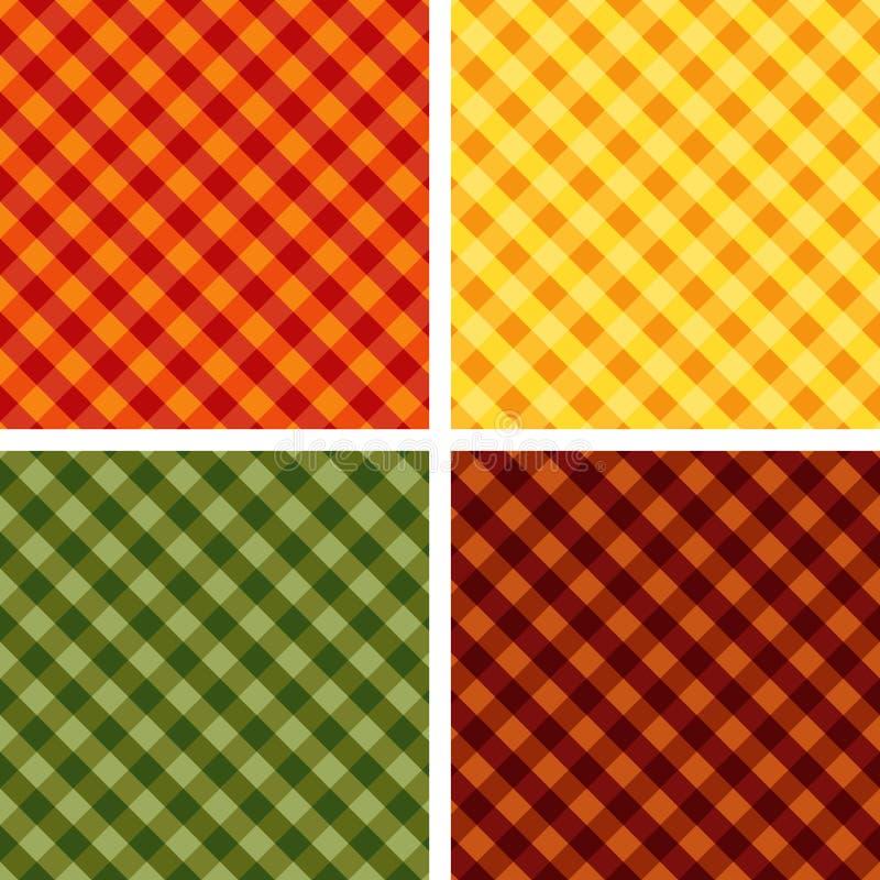 4种交叉方格花布收获颜色无缝的织法 向量例证