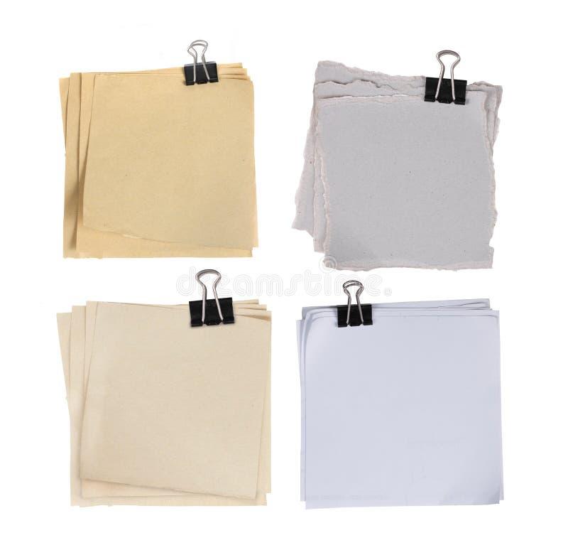 4附加的夹子另外纸的类型 库存图片