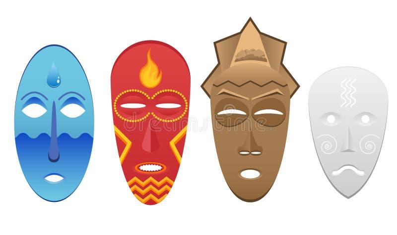 4 żywiołowej maski royalty ilustracja