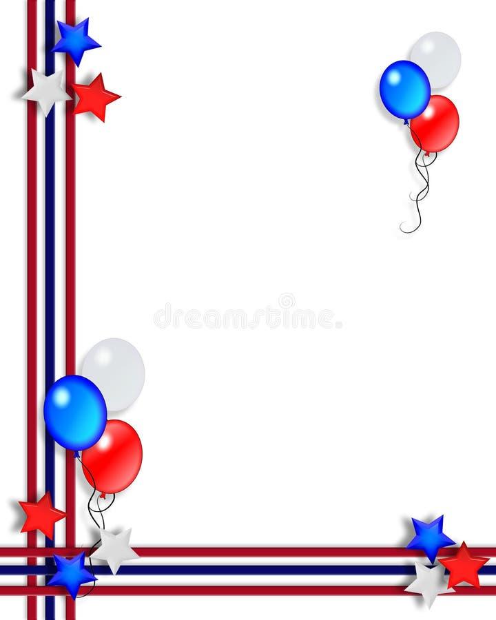 4$α πατριωτικά λωρίδες αστεριών Ιουλίου συνόρων απεικόνιση αποθεμάτων