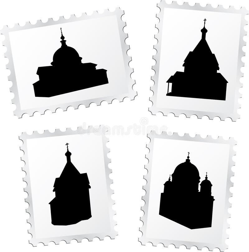 4 γραμματόσημα εκκλησιών απεικόνιση αποθεμάτων