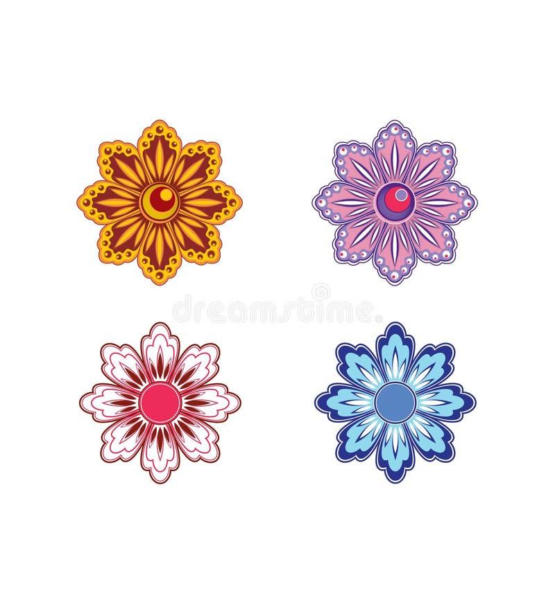 4 λουλούδια που τίθενται ελεύθερη απεικόνιση δικαιώματος
