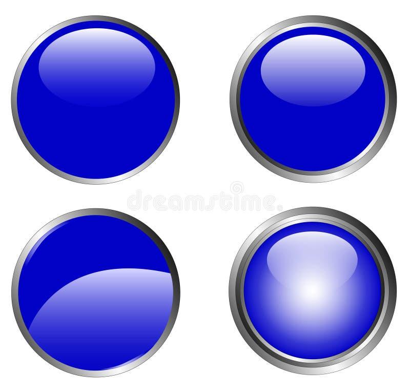 4 μπλε κουμπιά αριστοκρατικά απεικόνιση αποθεμάτων