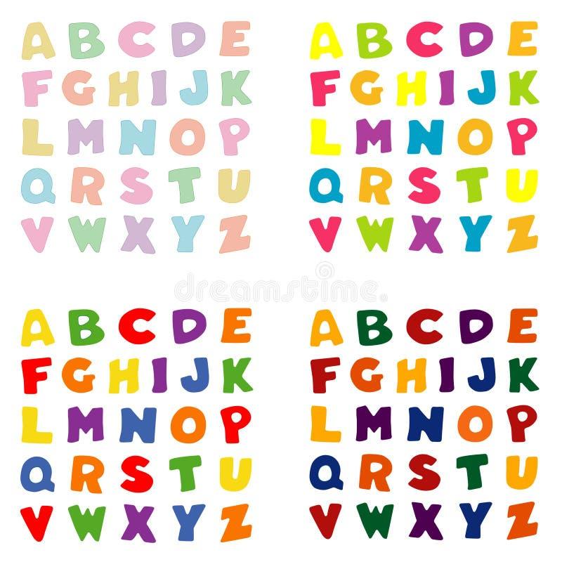 4 παλέτες χρώματος αλφάβητ&om διανυσματική απεικόνιση