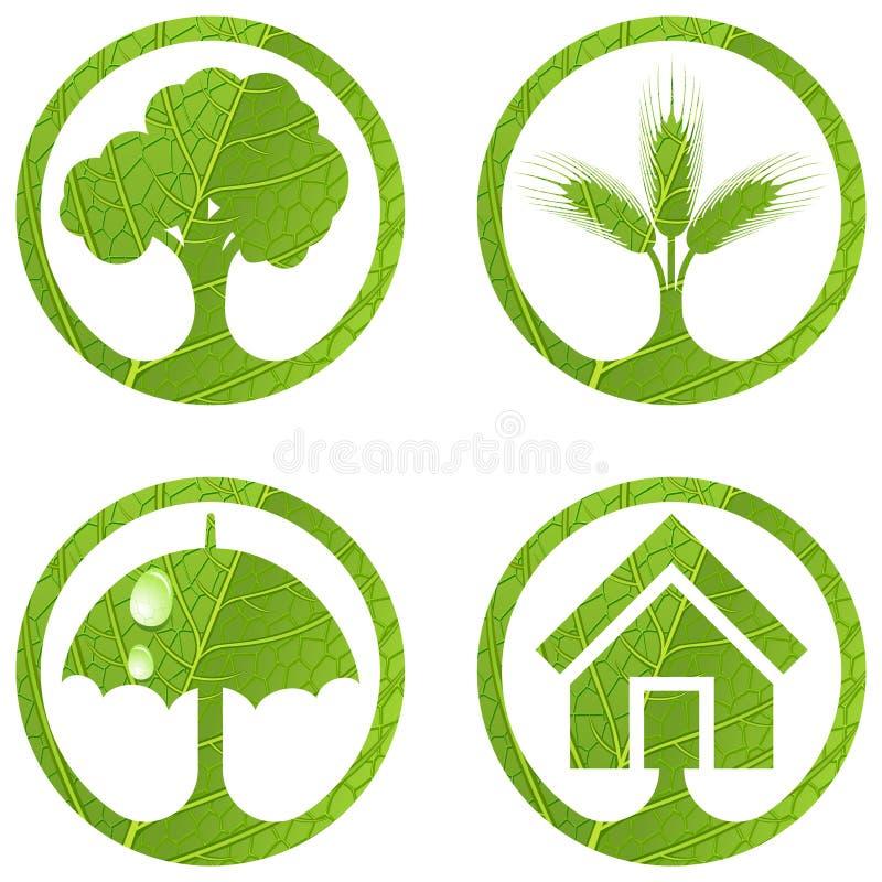 4 σημάδια συνόλου eco ελεύθερη απεικόνιση δικαιώματος