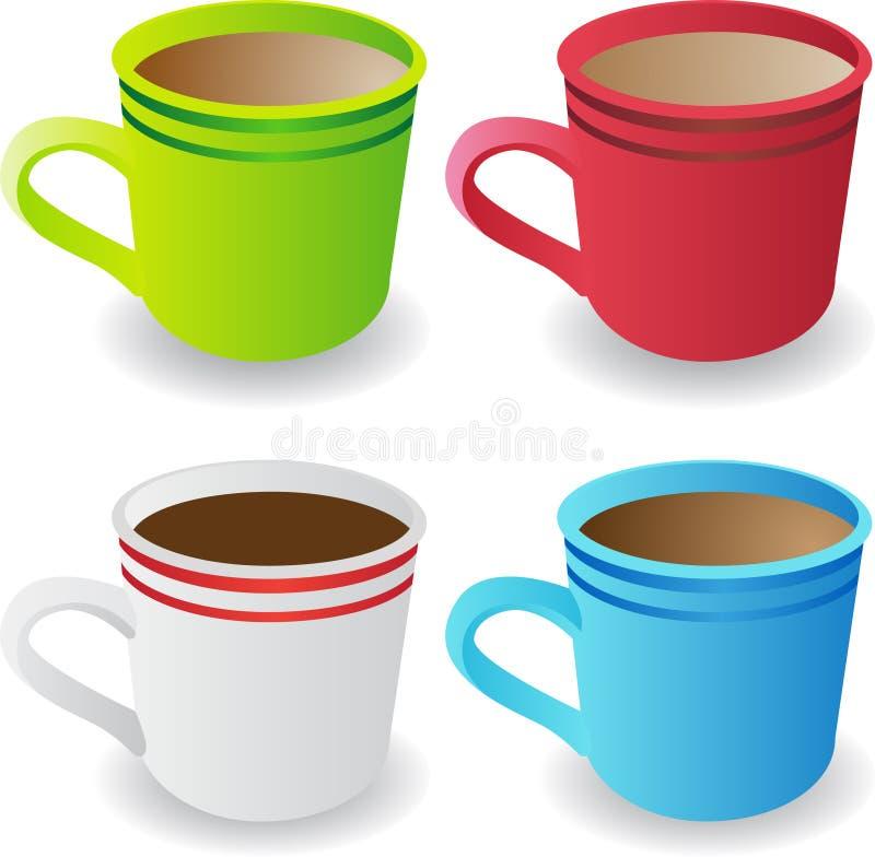 4 φλυτζάνια καφέ που τίθεντ& απεικόνιση αποθεμάτων