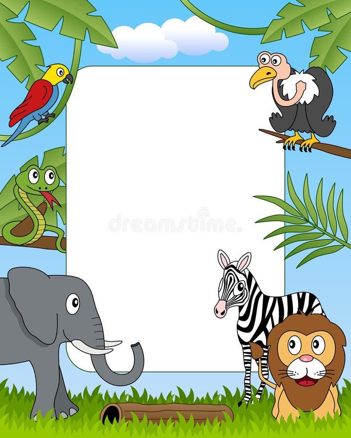 4 африканских животного обрамляют фото иллюстрация вектора