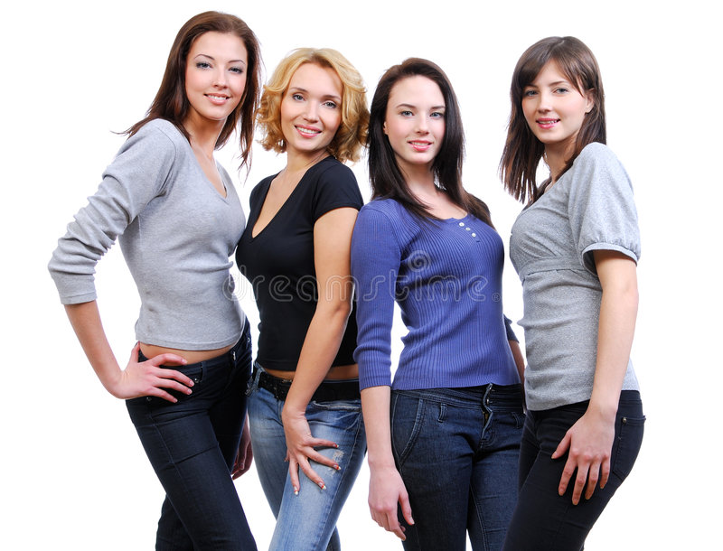 4 женщины группы счастливых ся стоковое изображение rf