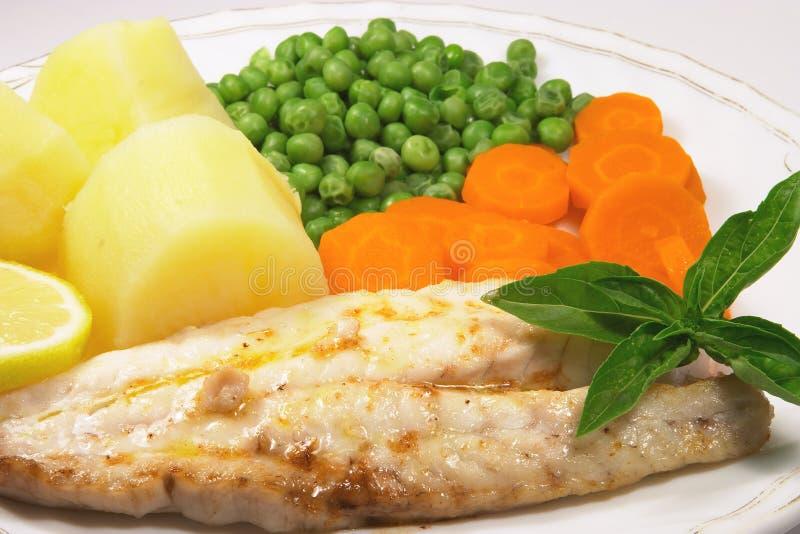 4 зажженной рыбы обеда стоковое изображение