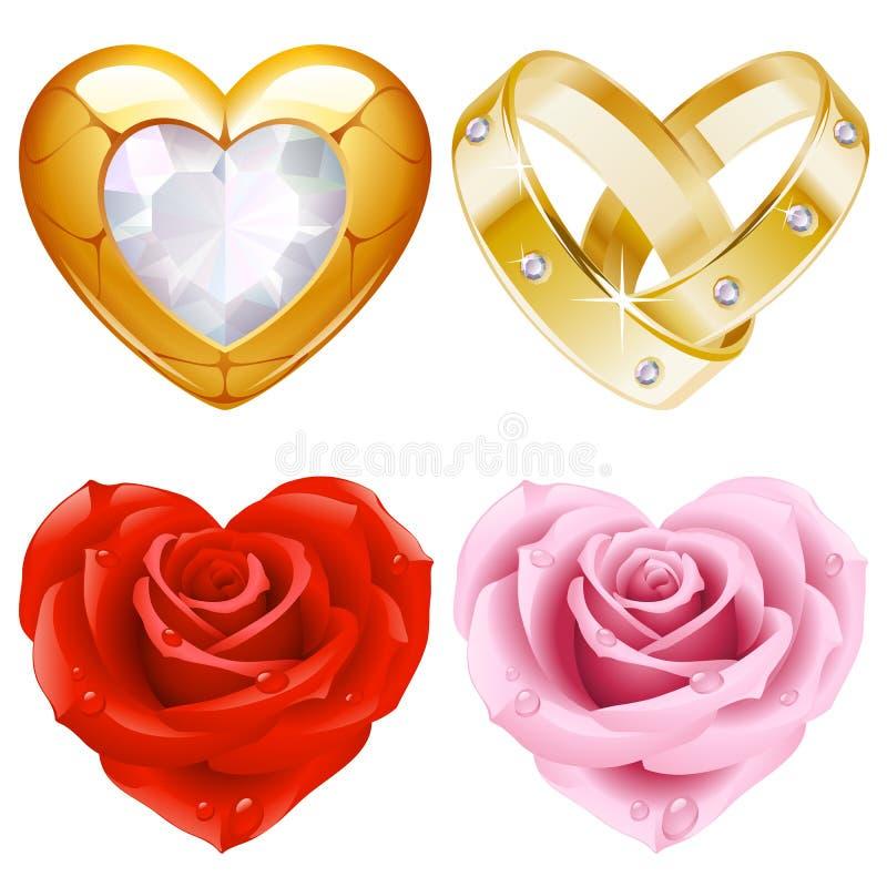 4 золотистыми форма jewellery сердца установленная розами иллюстрация штока
